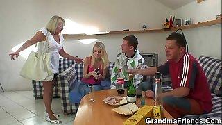 Partying guys screw blonde..