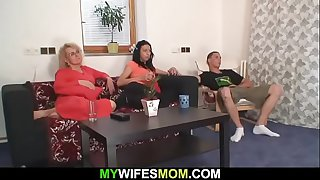 Mom in law rides his cock..