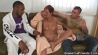 Granny gets nailed from both..
