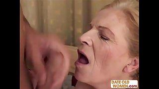 Blonde old grandma gets facial
