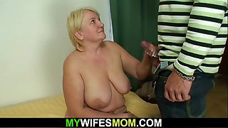 Taboo sex with busty old..