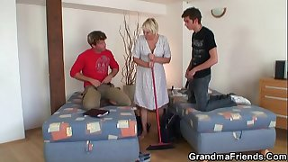 Blonde granny and boys teen..