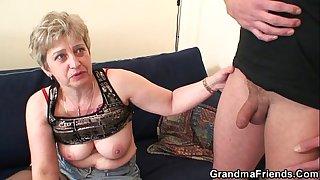 Grandma in black stockings..
