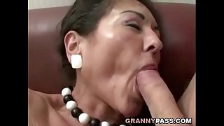 Hairy Granny Gets Cum On Her..