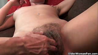 Granny with hairy pussy and..