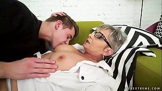 Lusty grandma vs young big..