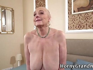 Busty granny gets eaten out..