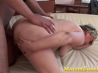 Plump Granny doggy fucked