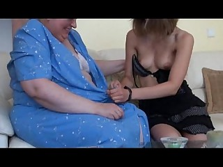 Old busty granny playing..