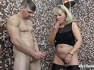 CFNM - Granny rubs Hot Jizz..