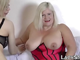Lesbo granny drilled with..