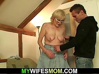 Guy fucks old blonde granny