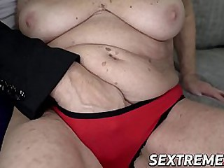 Busty granny slammed until..