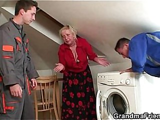 Naughty granny pleases two..