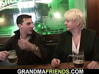 Boozed old blonde granny