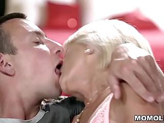 Skinny small tits granny..