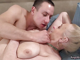 Blonde granny with enormous..