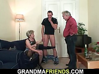 Old granny loves taking two..