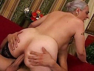 Old lady fuck young guy