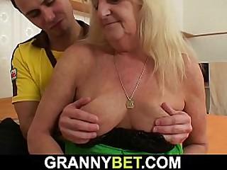 Hairy granny in stockings..