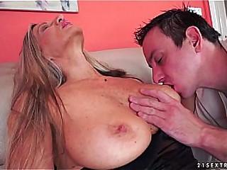 Big tit grandma eats cum