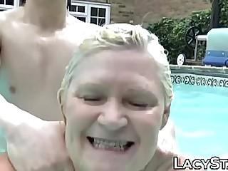 Granny with big tits has..