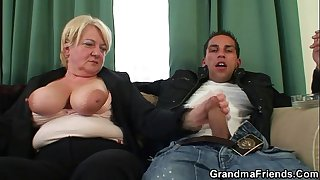 Two buddies bang old whore